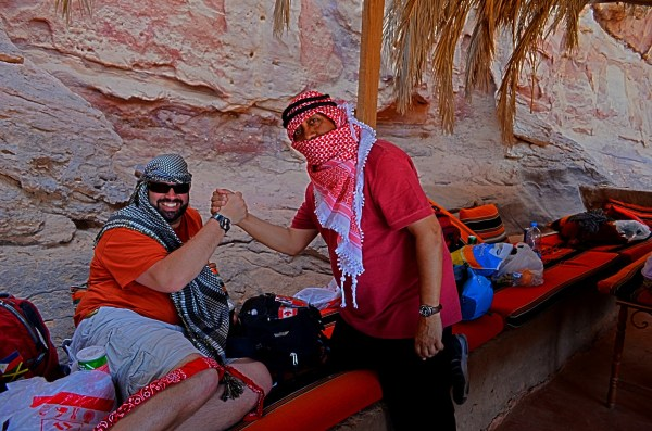 Jordan - the scarf says it all - Notice the Jordanian and the Palentenian colour scheme. The head scarf, also called a Keffiyeh or Kufiya are used by locals to identify each other