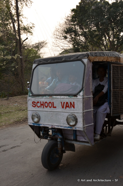 This is pretty typical of school transport in India