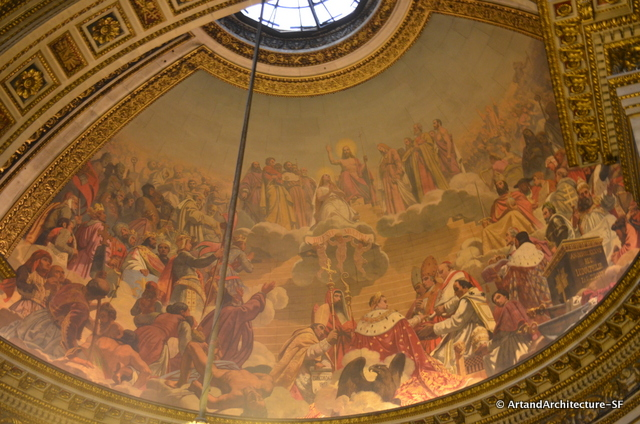 The half-dome above the altar is frescoed by Jules-Claude Ziegler, entitled The History of Christianity, showing the key figures in the Christian religion with — a sign of its Second Empire date — Napoleon occupying centre stage.