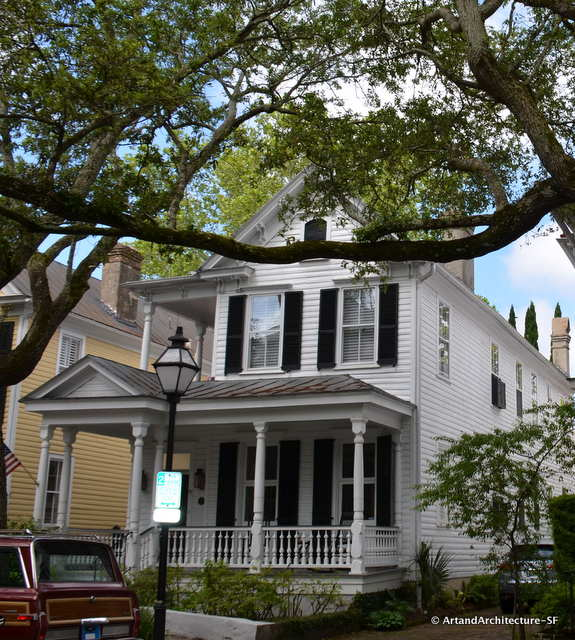 Victorian homes, made of wood, which is rare in Charleston are scattered in areas that were burned out  in the old section of town