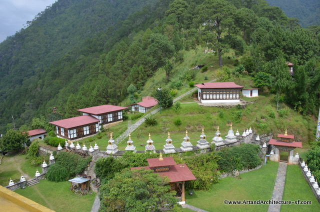 There are 108 Chortens surrounding the main temple