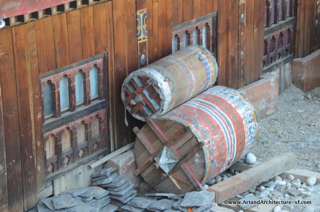 Even the large prayer wheels had to be put in storage for the duration of the construction