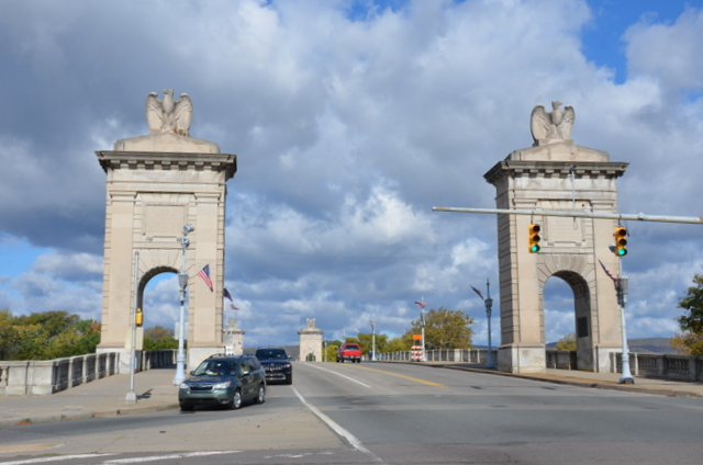 Market Street Bridge is a historic concrete arch bridge over the Susquehanna River between Kingston and Wilkes-Barre, Luzerne County, Pennsylvania. It was designed by the noted architectural firm of Carrère and Hastings and built between 1926 and 1929.