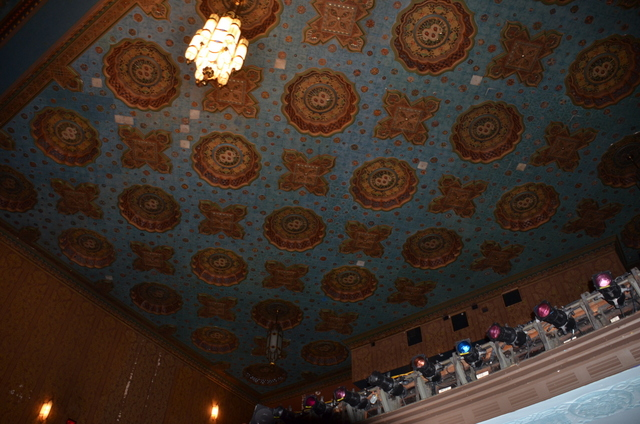 The patterned ceiling of the theater