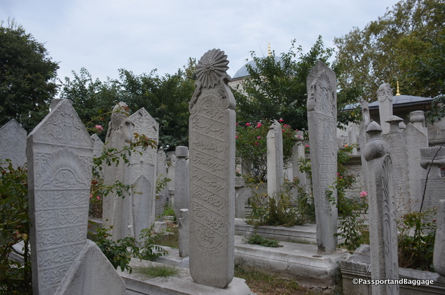 An example of grave stones scattered outside of the mausoleums.