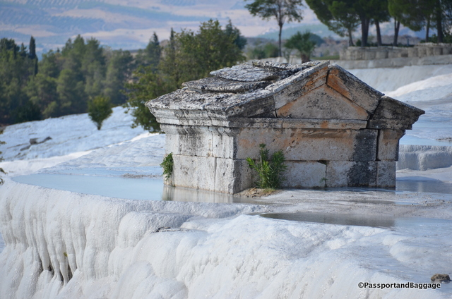 One of the few buildings being taken over by the carbonite materials of the mineral pools of Pamukkale