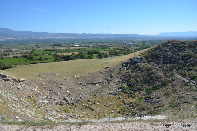 This is the north theater, and was built when the town grew to big for the West Theater. Built in the 2nd century AD it could hold about 12,000 people. It stayed in use until the 7th century