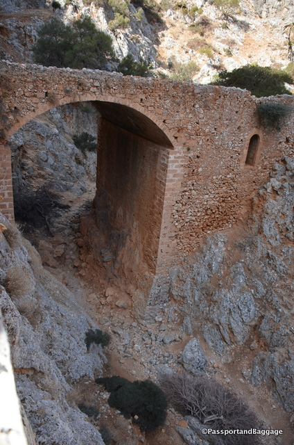 The two sides of this amazing archway over the ravine. The sides contain rooms as you can see by the small windows