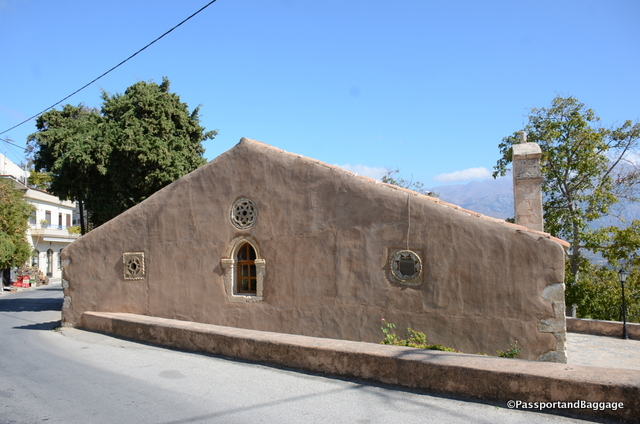 The lovely exterior ornamentation of the church in Meronas