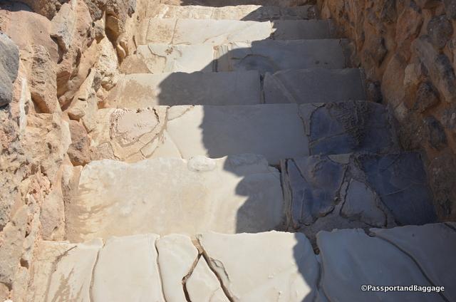 A stairway of gypsum stone