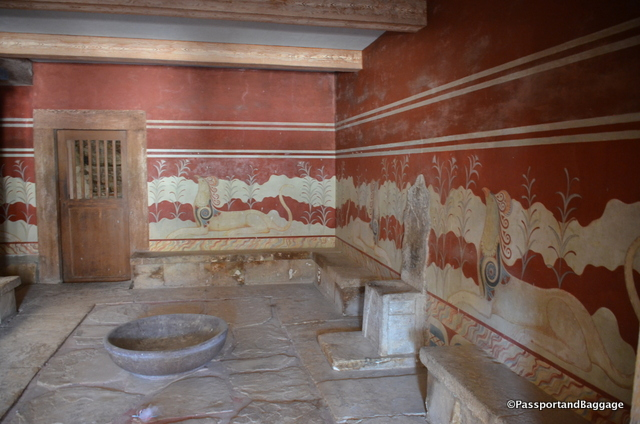 "The throne room was unearthed in 1900 by British archaeologist Arthur Evans, during the first phase of his excavations in Knossos. This throne room is considered the oldest stone throne of the Aegean region, indeed the oldest in Europe. The chamber contains an alabaster seat on the north wall, identified by Evans as a ""throne"", while two Griffins rest on each side are staring at it. What fascinated me the most were the three sides with gypsum benches."