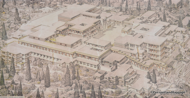 I found Knossos to be a real architectural wonder, the ability to build in such an elaborate manner, with four story buildings, in that time, is astonishing. This is an artists rendering of the site.