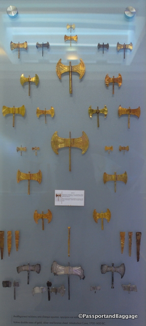 These symmetrical double-bitted axe are called Labrys. Originally from Crete they are some of the oldest symbols of Greek civilization. The Labrys is most closely associated in historical records with the Minoan civilization and specifically with the worship of a goddess. In Crete the symbol always accompanies female divinities.