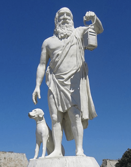 "Diogenes always carries a lamp because he is ""looking for a good man"" and never finding one."