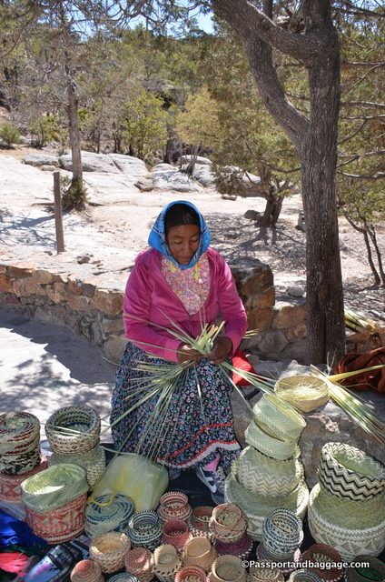 Tarahumara Indians weaving baskets