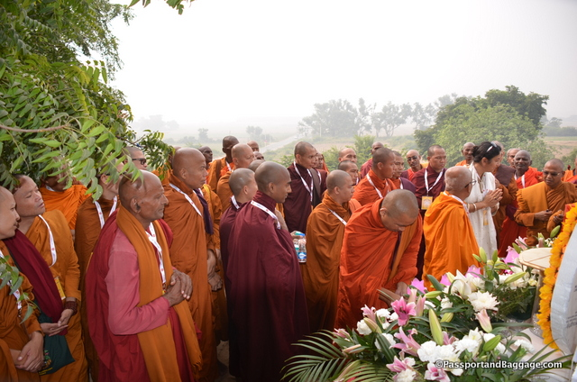 The Sankasya ceremony opened with a prayer at the top of the stupa