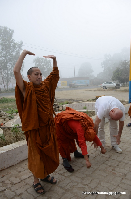 Nelson Chamma sits on the Board of Directors of LBDFI - Brazil. Here is is giving yoga lessons to the monks on one of our pitstops
