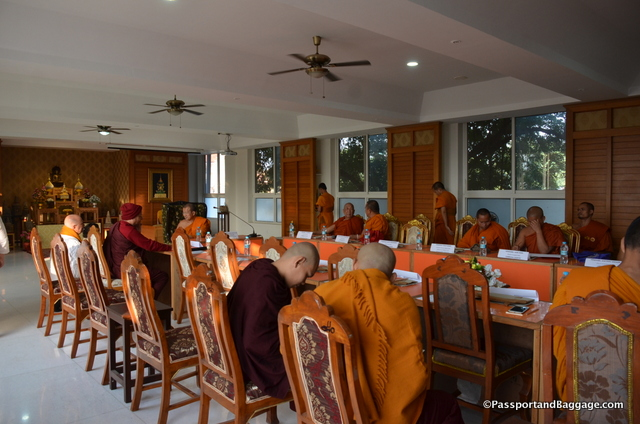 I attended a meeting of all the most important monks in the area. Just like any board meeting, it had pads of paper, lots of discussion , and not much accomplished
