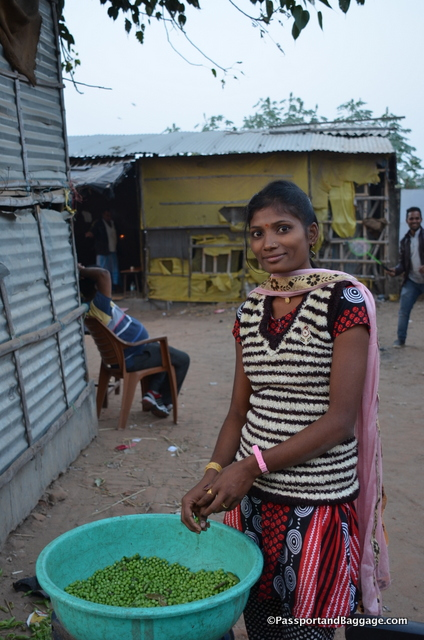This is Sanjana, she is a friend of Stefanie's and was shucking peas when we ran into her and her lovely smile