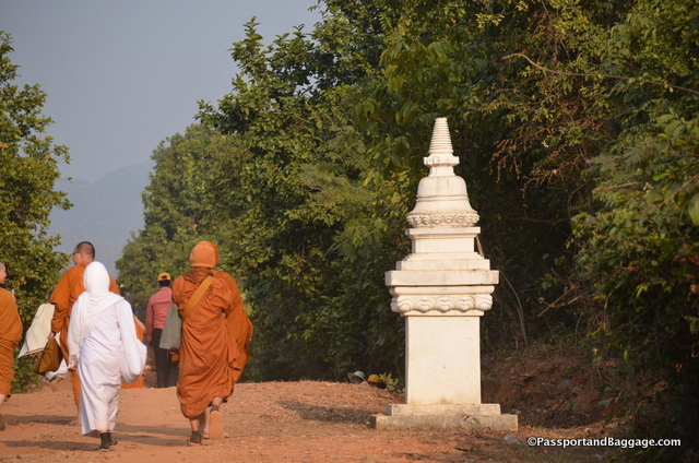 "Stupas were proposed for the area but the government pooh poohed it, so ""kilometer markers"" line the path instead."
