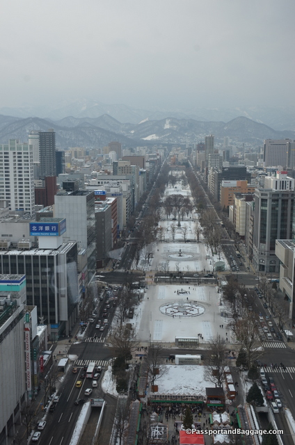 Looking down on Odori Park from the observation level of the Sapporo TV Tower