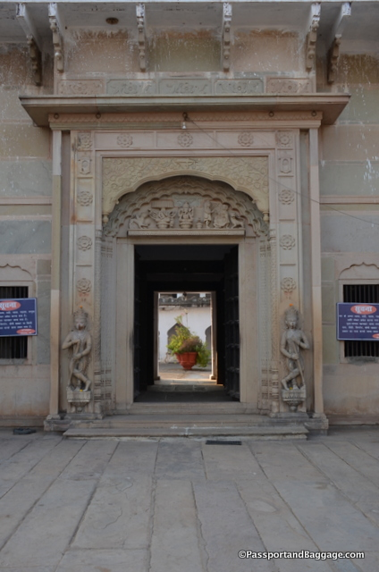 On the other side of the big open courtyard is an entry doorway to the Mahant's residence