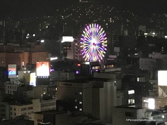 The Ferris Wheel can be seen for miles in the evening. Changing colors and patterns as it turns.