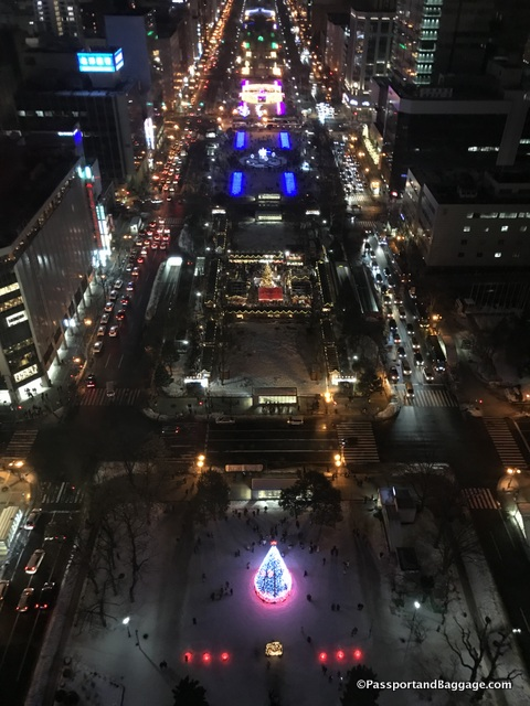 Odori Park at night from the Sapporo TV Tower Observation Deck
