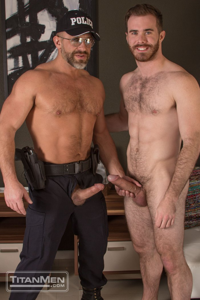 Dirk Caber delivers his hard cop cock into Matthew Bosch's hairy hole