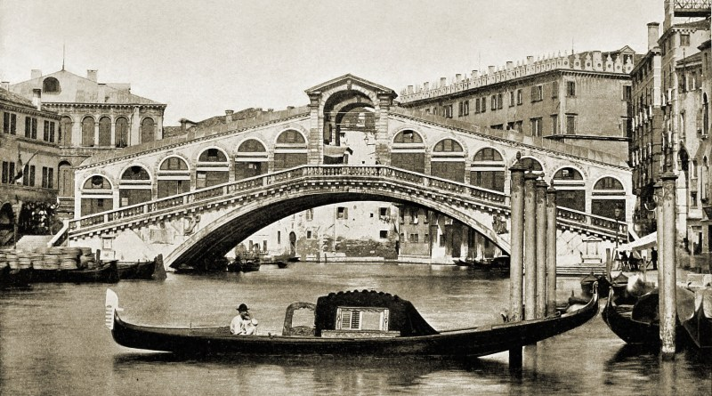 Rialto Bridge Venice Italy about 1892