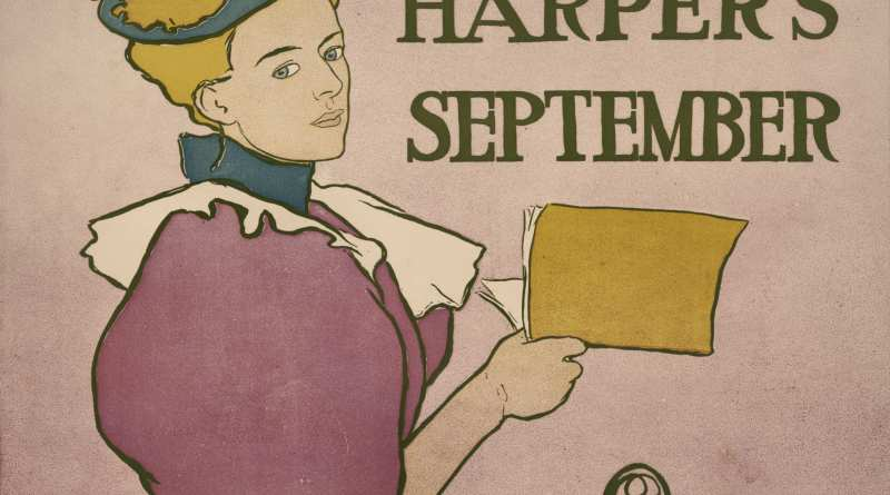 Woman reading Harper's Magazine by Edward Penfield 1896
