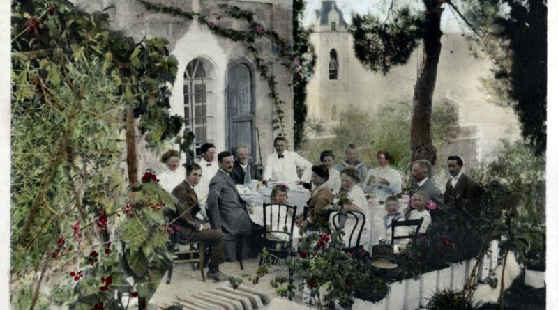 Dining outdoors in Ein Karem, Jerusalem, Israel about 1919
