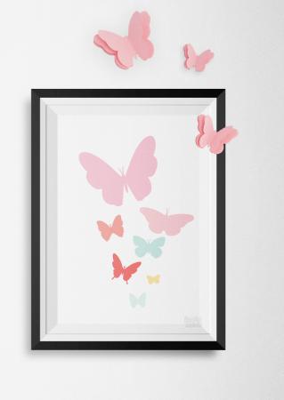 3D muurdecoratie vlinders stickers vlinder roze
