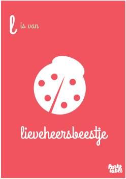 poster meisjes alfabet roze lieveheersbeestje