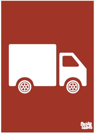 poster kinderkamer vrachtwagen rood
