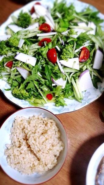 玄米ごはん&水菜とカブのサラダ