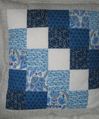 Marching Squares Quilted Cushion Cover