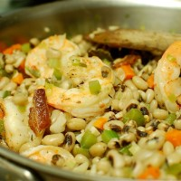 Happy New Year: Black-Eyed Peas with Garlicky Black-Pepper Shrimp