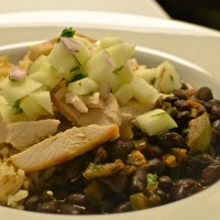 Black Beans and Rice with Chicken and Apple Salsa