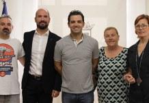 Sagredo, Periche, Mora y Salvador junto a Josué Vergara durante la recepción