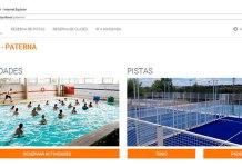Captur de pantalla de la web de reserva online de instalaciones