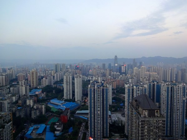 Looking east on central Chongqing at sunset.