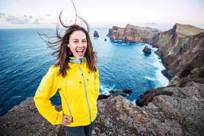 Woman on sea cliffs