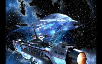 Close Quarters - two alien starships pass - art for on-line RPG Reborn