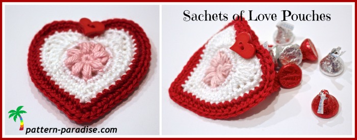 Sachets of Love by pattern-paradise #crochet #freepatterns #sachet #heart