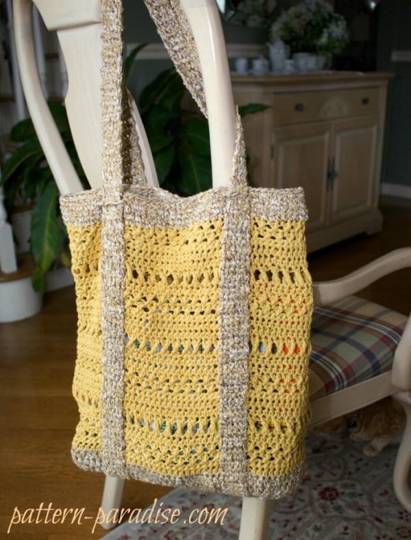 Free Crochet Market Bag Pattern : Free Crochet Pattern-X Stitch Challenge, Market Bag Pattern Paradise