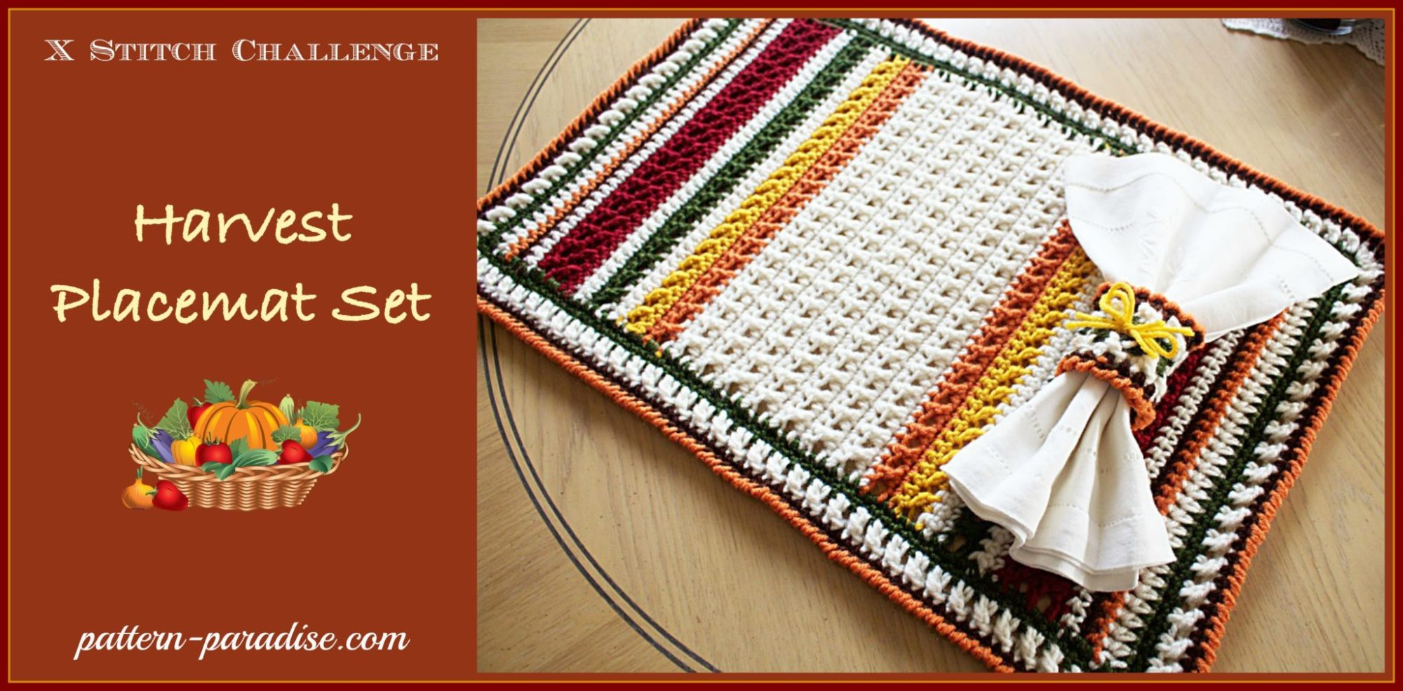 Crochet Pattern-X Stitch Challenge, Harvest Placemat Set Pattern ...