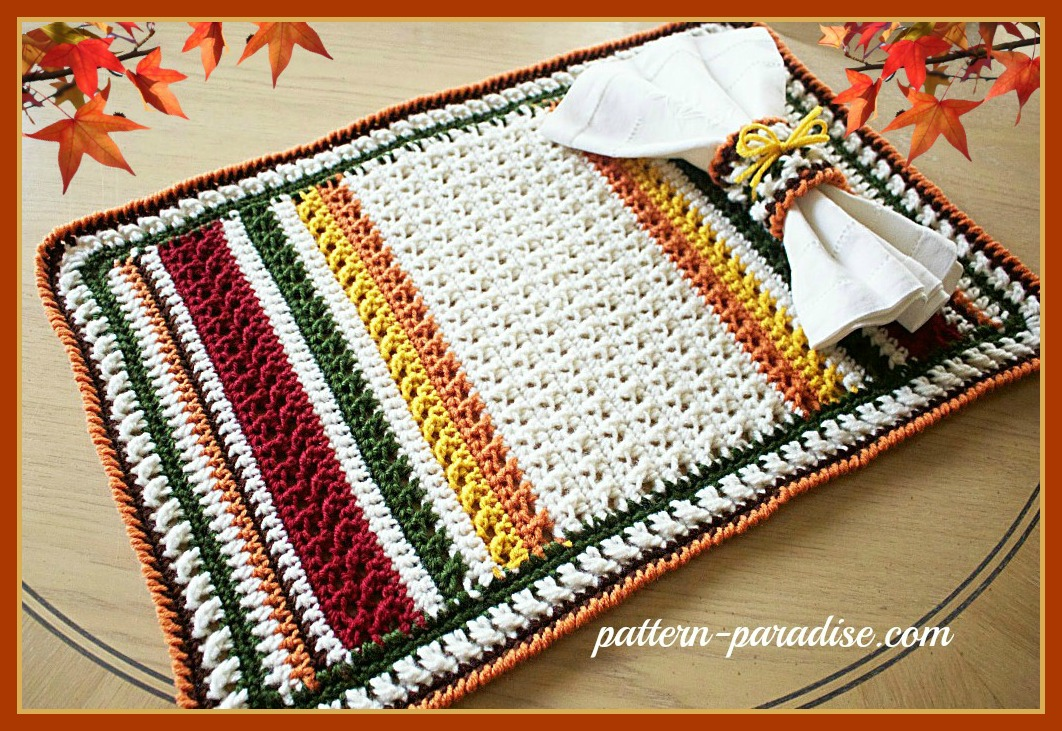 free crochet pattern x stitch challenge harvest placemat set pattern paradise. Black Bedroom Furniture Sets. Home Design Ideas