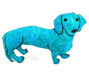 decorative pillow, big dachshund dog shaped pillow softie doxie turquoise batik fabric