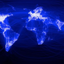 the global traffic map of social media service Facebook